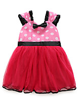 cheap -Girl's Daily Going out Polka Dot Dress, Cotton Polyester Spring Summer Short Sleeves Cute Active Fuchsia