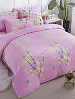 cheap -Duvet Cover Sets Floral 4 Piece Poly/Cotton 100% Cotton Jacquard Poly/Cotton 100% Cotton 1pc Duvet Cover 2pcs Shams 1pc Flat Sheet