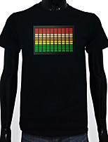 baratos -Camiseta com LED Luminoso Iluminação Iluminação de LED Algodão puro LED Casual 2 Baterias AAA