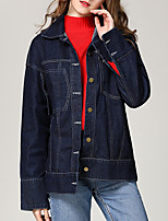 cheap -Women's Vintage Denim Jacket-Solid Colored,Ruffle