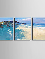 cheap -Hand-Painted Abstract Landscape Vertical, Modern Canvas Oil Painting Home Decoration Three Panels