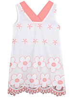 cheap -Girl's Daily Solid Dress, Nylon Summer 3/4 Length Sleeves Simple White