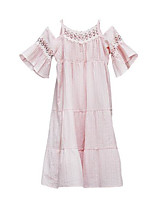 cheap -Girl's Daily Solid Dress, Cotton Spring Summer Simple Casual Blushing Pink