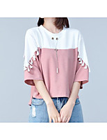 cheap -Women's Slim T-shirt - Color Block