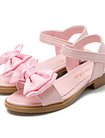 cheap -Girls' Shoes Leatherette Summer Tiny Heels for Teens Flower Girl Shoes Sandals Bowknot Magic Tape for Party & Evening Dress White Pink