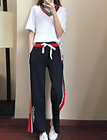 Недорогие -Жен. Классический Большие размеры Рукава буффы Блуза Брюки - С принтом, Полоски V-образный вырез