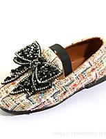 abordables -Fille Chaussures Tissu Printemps Automne Chaussures de Demoiselle d'Honneur Fille Confort Ballerines Strass Noeud Elastique Combinaison