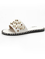 cheap -Women's Shoes PU Summer Comfort Slippers & Flip-Flops Flat Heel Round Toe Imitation Pearl for Casual Black Beige Almond
