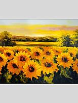 baratos -Pintura a Óleo Pintados à mão Floral/Botânico Panorâmico horizontal, Modern Decoração para casa 1 Painel