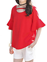 cheap -Girls' Daily Holiday Solid Colored Clothing Set, Cotton Polyester Summer Short Sleeves Basic Red Yellow