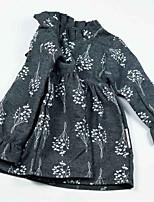 preiswerte -Mädchen Kleid Alltag Blumen Polyester Frühling Langarm Retro Braun Grau