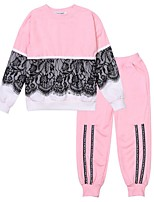 cheap -Unisex Daily Going out Solid Colored Clothing Set, Cotton Polyester Spring Fall Long Sleeves Simple Active Blue Black Blushing Pink Purple