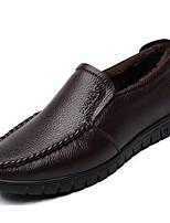 Недорогие -Муж. обувь Кожа Осень Зима Флисовая подкладка Удобная обувь Мокасины и Свитер для Повседневные Черный Коричневый