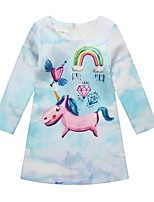 cheap -Girl's Daily Color Block Dress, Polyester Spring Summer Long Sleeves Cute Light Blue
