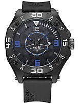 baratos -WEIDE Homens Quartzo Relógio Casual Japanês Calendário Mostrador Grande Relógio Casual Preto e Branco Silicone Banda Luxo Legal Preta