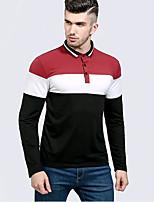 cheap -Men's Street chic Slim Polo - Stripe, Basic Shirt Collar