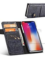 baratos -Capinha Para Apple iPhone X iPhone 8 Porta-Cartão Antichoque Flip Capa Proteção Completa Côr Sólida Rígida PU Leather para iPhone X