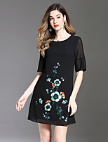 cheap -8CFAMILY Women's A Line Dress - Floral Embroidered