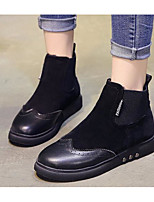 cheap -Women's Shoes PU Fall Winter Snow Boots Comfort Boots Flat Heel Booties/Ankle Boots for Casual Black Champagne