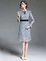 Недорогие -Жен. Изысканный Уличный стиль Оболочка Платье - Контрастных цветов, Кружева До колена