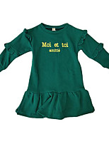 cheap -Girl's Daily Solid Dress, Cotton Long Sleeves Cute Casual Green Red