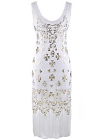 cheap -The Great Gatsby The Great Gatsby 1920s Costume Women's Dress White Black Golden Vintage Cosplay Polyester Sleeveless