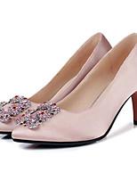 preiswerte -Damen Schuhe Seide Frühling Herbst Pumps Komfort High Heels Stöckelabsatz für Normal Schwarz Grün Rosa