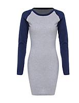 abordables -Femme Rétro Moulante Robe - Imprimé, Couleur Pleine Mini