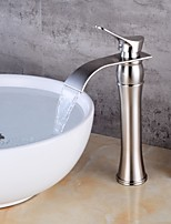 preiswerte -Moderne Mittellage Einhand Ein Loch Gebürstet Gebürsteter Nickel, Waschbecken Wasserhahn