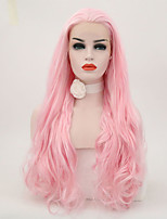 cheap -Synthetic Lace Front Wig Natural Wave Natural Hairline Pink Women's Lace Front Natural Wigs Long Synthetic Hair