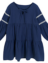 cheap -Girl's Daily Holiday Solid Dress, Cotton Polyester Spring Summer Long Sleeves Simple Casual Blue