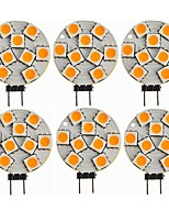cheap -SENCART 6pcs 1.5W 270 lm G4 LED Bi-pin Lights T 9 leds SMD 5050 Decorative Warm White DC 12V