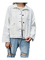 cheap -Women's Cotton Denim Jacket - Solid Colored, Patchwork Shirt Collar
