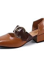 Недорогие -Жен. Обувь Полиуретан Весна Удобная обувь Обувь на каблуках Блочная пятка Квадратный носок для Повседневные Черный Бежевый Верблюжий