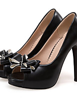 preiswerte -Damen Schuhe PU Frühling Herbst Neuheit Komfort High Heels Stöckelabsatz Peep Toe Schleife für Büro & Karriere Party & Festivität Weiß