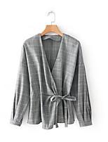 cheap -Women's Shirt - Color Block V Neck
