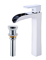cheap -Contemporary Centerset Waterfall Ceramic Valve Single Handle One Hole Faucet Set
