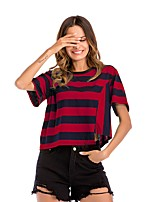 cheap -Women's Street chic Batwing Sleeve Cotton T-shirt - Striped