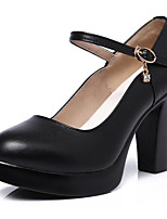 cheap -Women's Shoes Cowhide Spring Fall Comfort Heels Chunky Heel for Casual White Black
