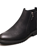 cheap -Men's Shoes Cowhide Nappa Leather Winter Fall Combat Boots Comfort Boots for Casual Black