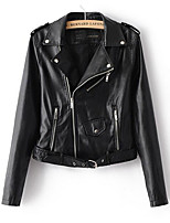 cheap -Women's Street chic Leather Jacket-Solid Colored Peter Pan Collar