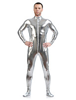 preiswerte -Zentai Anzüge Ninja Zentai Kostüme Cosplay Kostüme Silber Solide Zentai Kostüme Elasthan Kleben Herrn Damen Halloween Maskerade