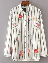 cheap -Women's Cute Butterfly Sleeve Shirt - Striped, Embroidered Shirt Collar