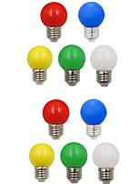 baratos -10pçs 1W 100 lm E26/E27 Lâmpada Redonda LED G45 8 leds SMD 2835 Decorativa Branco Verde Amarelo Azul Vermelho 220-240V