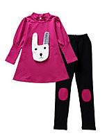cheap -Girls' Daily Geometric Clothing Set, Polyester Spring Long Sleeves Simple Purple