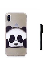 cheap -Case For Apple iPhone X iPhone 8 Plus Translucent Back Cover Panda Animal Soft TPU for iPhone X iPhone 8 Plus iPhone 7 Plus iPhone 7