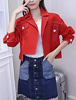 cheap -Women's Vintage Denim Jacket - Solid Colored Shirt Collar