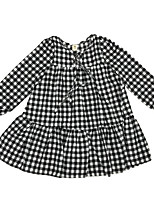 cheap -Girl's Daily Check Dress, Cotton Spring Long Sleeves Simple Active White Black