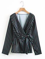 cheap -Women's Going out Slim Shirt - Striped V Neck