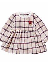 abordables -Robe Fille de Quotidien Imprimé Polyester Printemps Manches Longues Rétro Rouge Beige Marine Jaune
